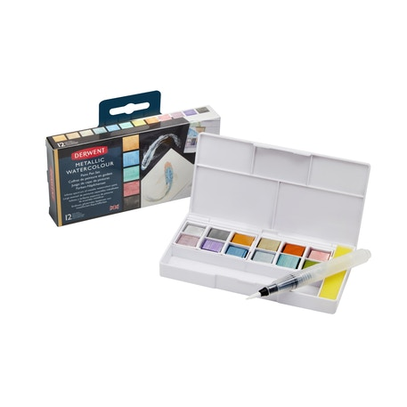 Derwent Metallic Paint Pans with Assorted Set of Waterbrushes