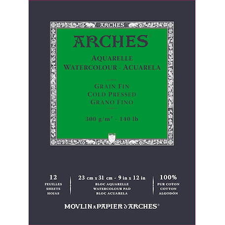 Arches Aquarelle Glued Watercolour Pad 300gsm 12 Sheets NOT
