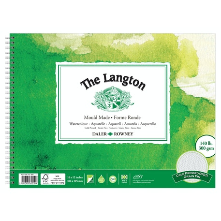 Daler Rowney The Langton Watercolour 300gsm 12 sheets Cold Press Spiral Pad 16 x 12 inches