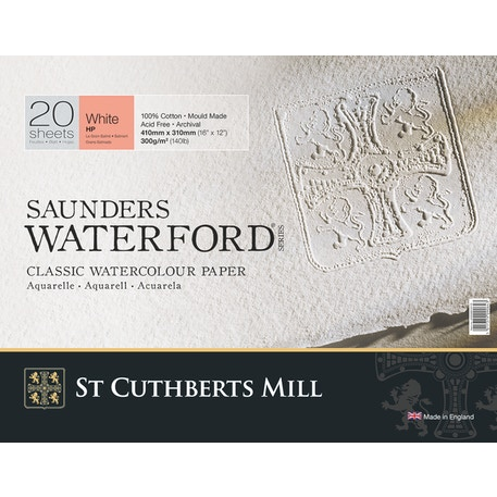 Saunders Waterford Hot Pressed Block White 300 gsm 410x310mm 20 Sheets 16 x 12 inches
