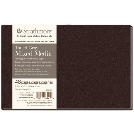 Strathmore 400 Toned Grey Mixed Media Hardbound Book 24 sheets 300gsm 8.5 x 5.5 inches