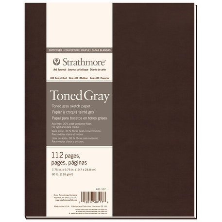 Strathmore 400 Toned Softcover Book 56 sheets 118gsm 19.7 x 24.8 cm Grey Paper