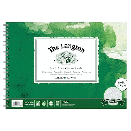 """Daler Rowney The Langton Spiral Watercolour Pad 300gsm 12 Sheets 14x10"""" 'Not'"""