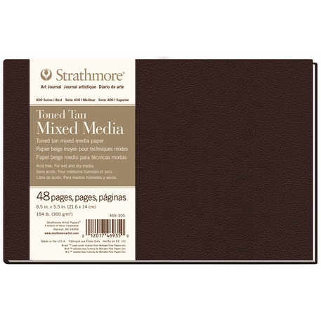 Strathmore 400 Toned Tan Mixed Media Hardbound Book 24 sheets 300gsm 8.5 x 5.5 inches