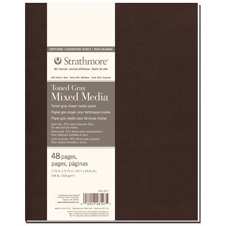 Strathmore 400 Toned Grey Mixed Media Softcover Book 24 Sheets 300gsm 7.75 x 9.75 inches