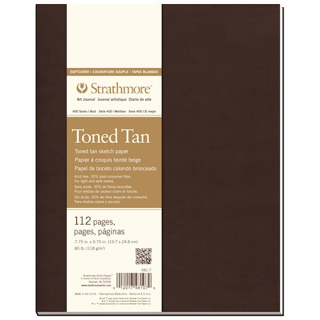 Strathmore 400 Toned Soft Cover Book 56 Sheets 19.7 x 24.8 cm 7.75 x 9.75 inches Tan