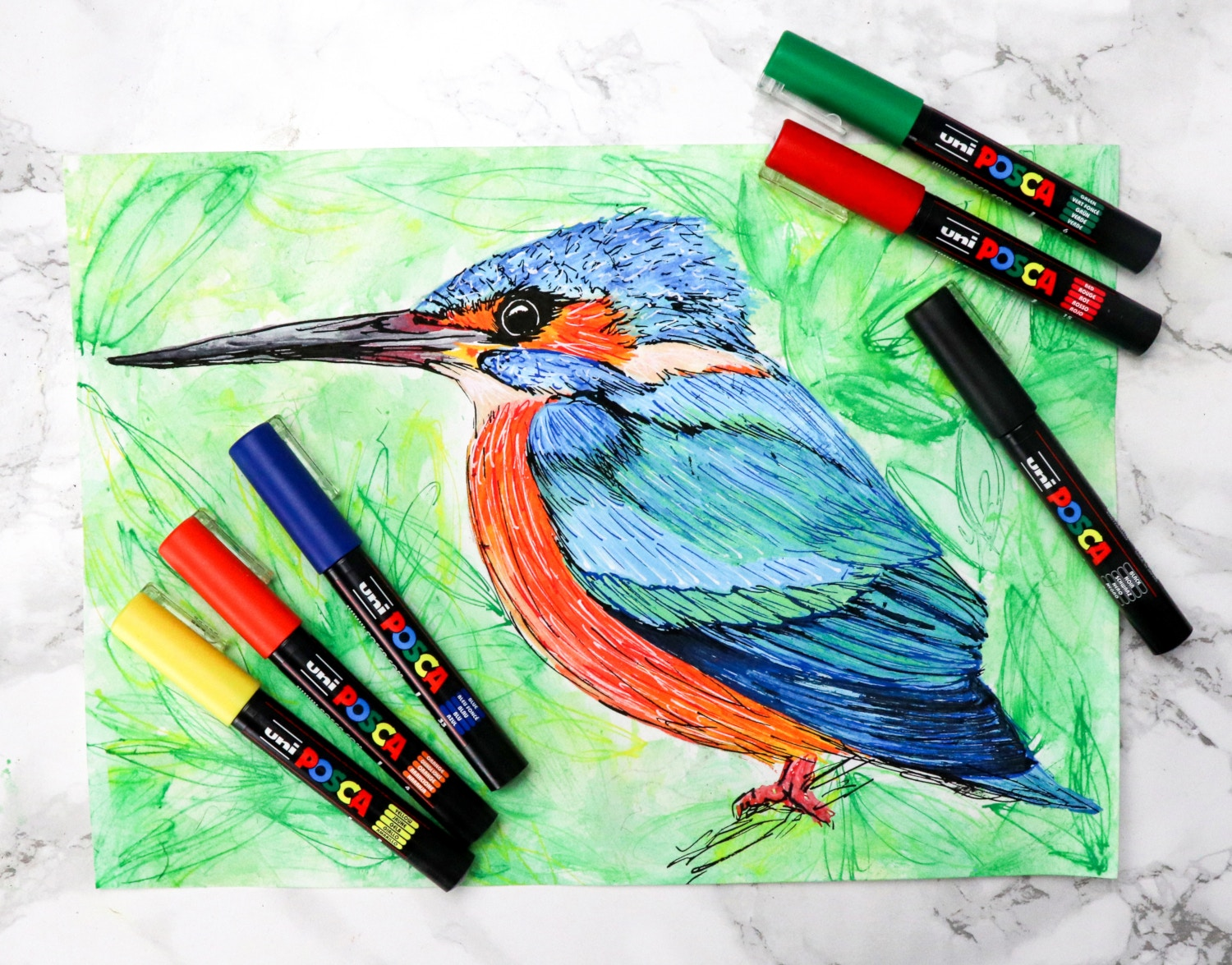 Posca paint marker drawing of a kingfisher