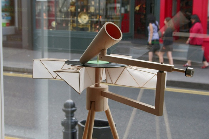 Alex Baker, Wind Powered Record Player, Image courtesy of the artist and GV Art gallery London