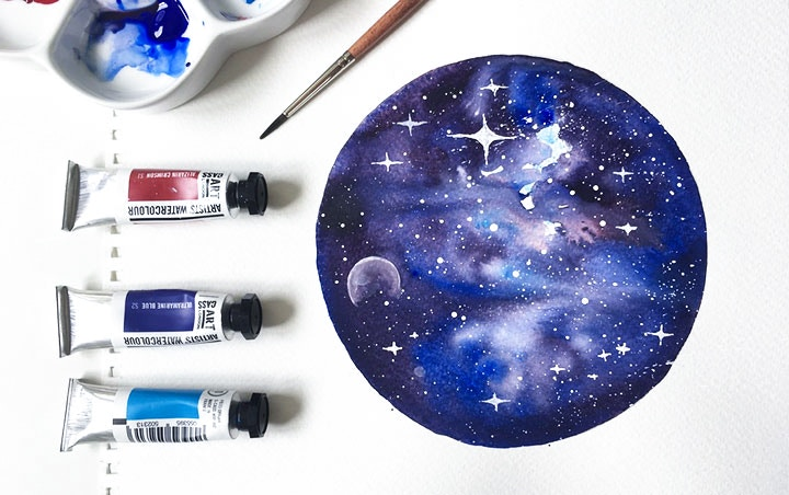HOW TO: CREATE A GALAXY WATERCOLOUR PAINTING   Cass Art