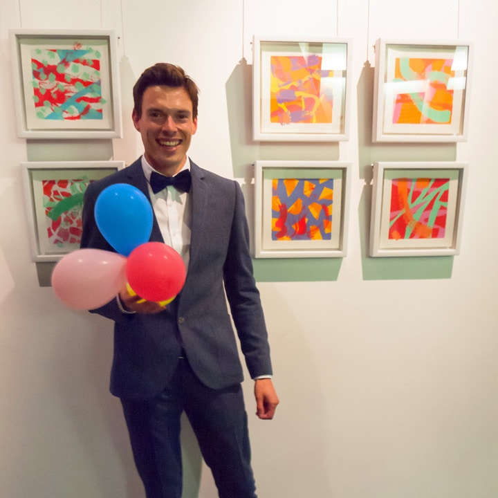 Jamie Hearn at his exhibition opening