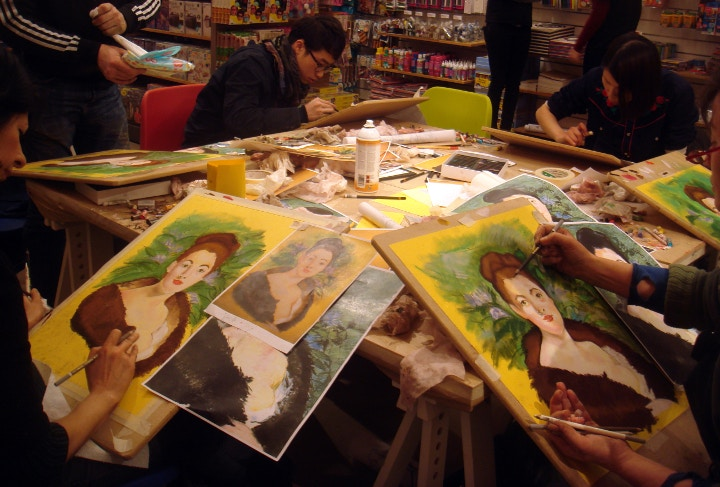 Portrait painting workshops at our Islington shop with art supplies.