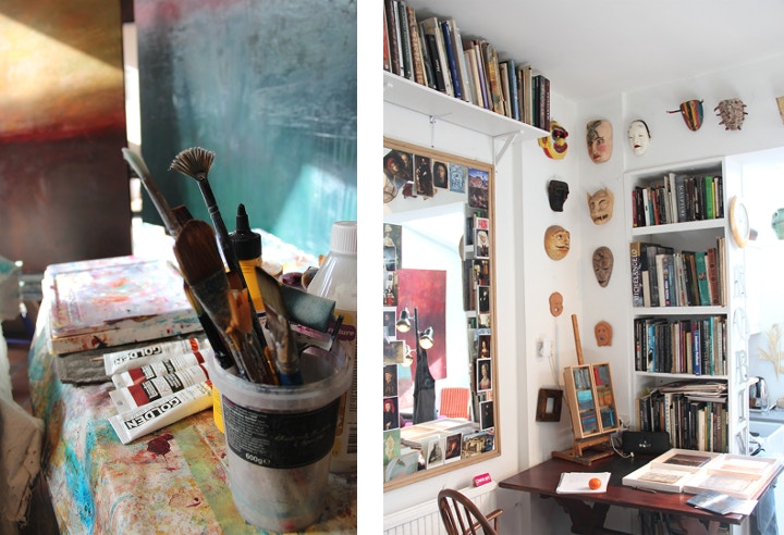 A peek into Robin's studio bursting with art materials.