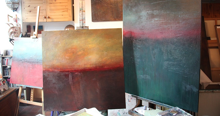 Robin's paintings in progress in her studio.