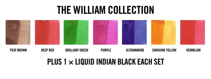 The william collection demonstrated on cold pressed watercolour paper.