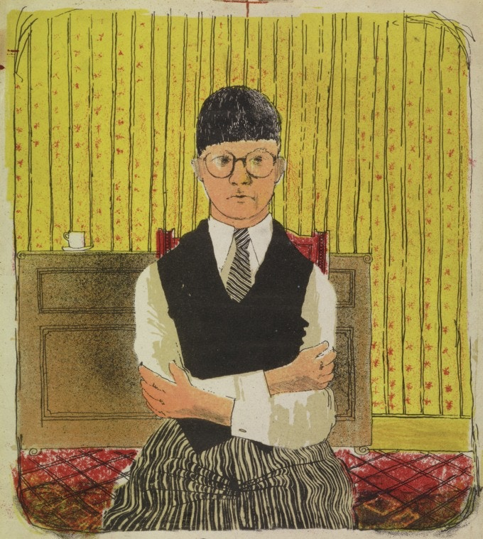 "David Hockney, Self Portrait, 1954, Lithograph in Five Colors, 11 1/2 x 10 1/4"" Edition: 5 (approximately) © David Hockney"