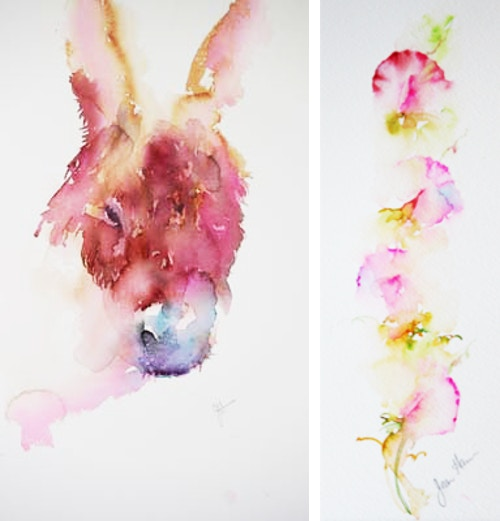 Jean Haines passion for watercolour, donkey and flower image
