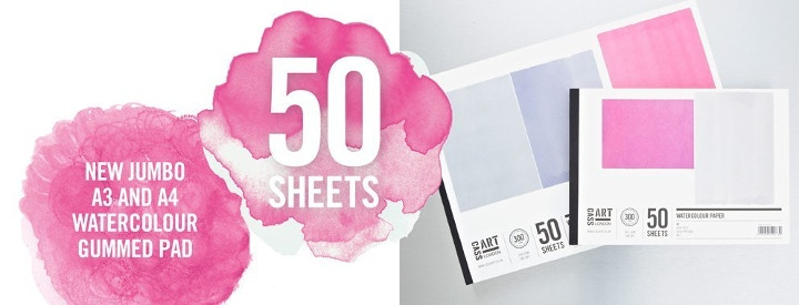 50 watercolour cold pressed sheets included in our own Cass Art pads.