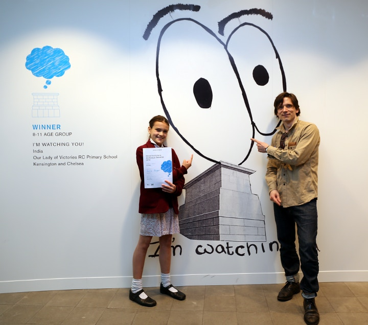 India Bolger, Winner of 8-11, with Jeremy Deller