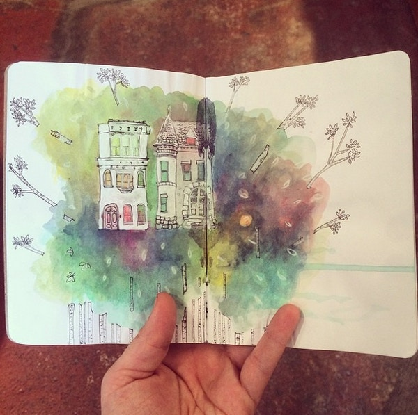 Sketchbook Spread with watercolour illustration of house and trees