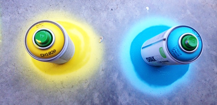 Montana Chalk Spray Paint, in vivid colours yellow and blue