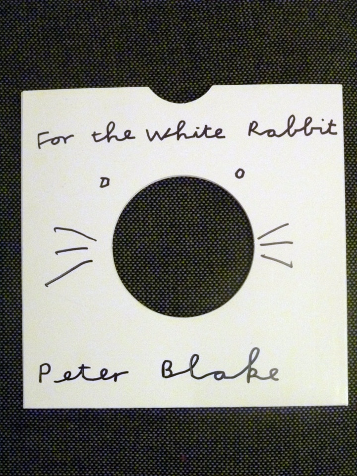 White Rabbit record sleeve signed by artist Peter Blake