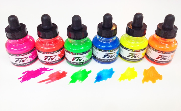 FW Neon Inks - 6 bottles of acrylic colour