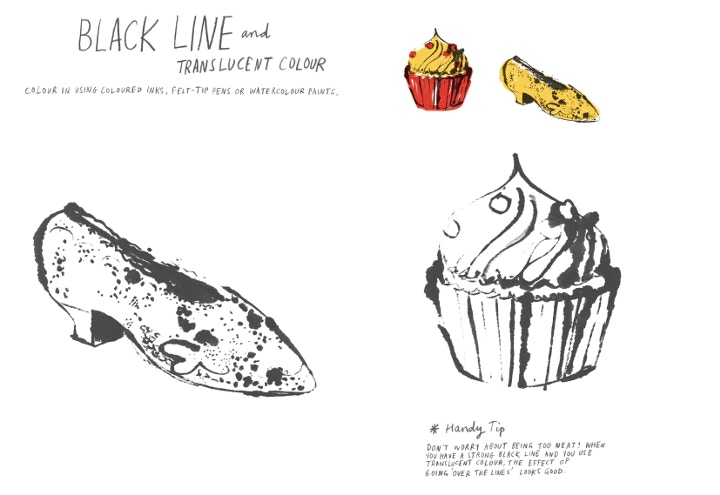 Black Line drawings by Marion Deuchars, Draw Paint Print