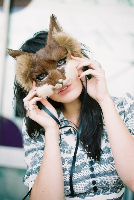 Daisy Lowe in fox mask