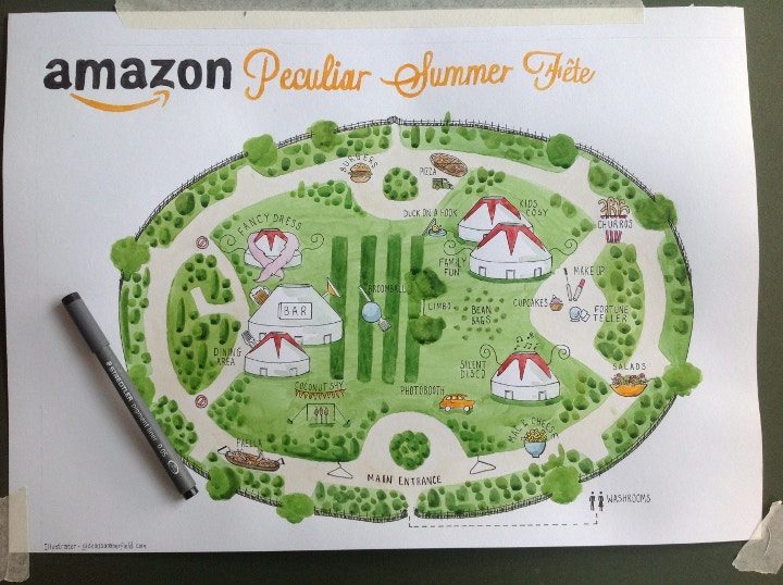Amazon drawing, Peculiar Summer Fete by Gideon Summerfield
