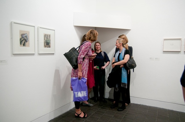 A crowd listening to the Jerwood Drawing Prize winner