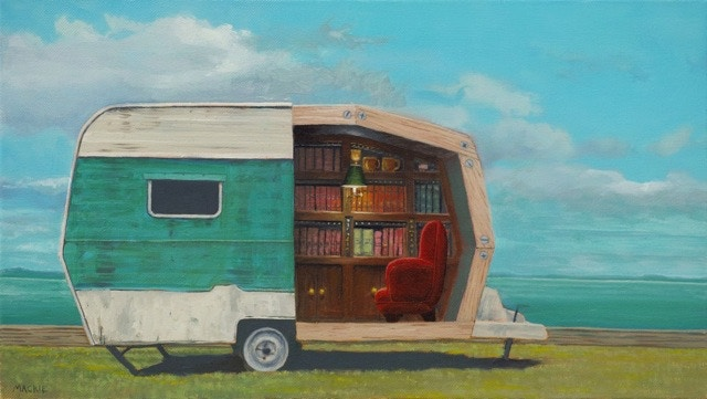 A Summertime Retreat by Mackie, oil painting of caravan
