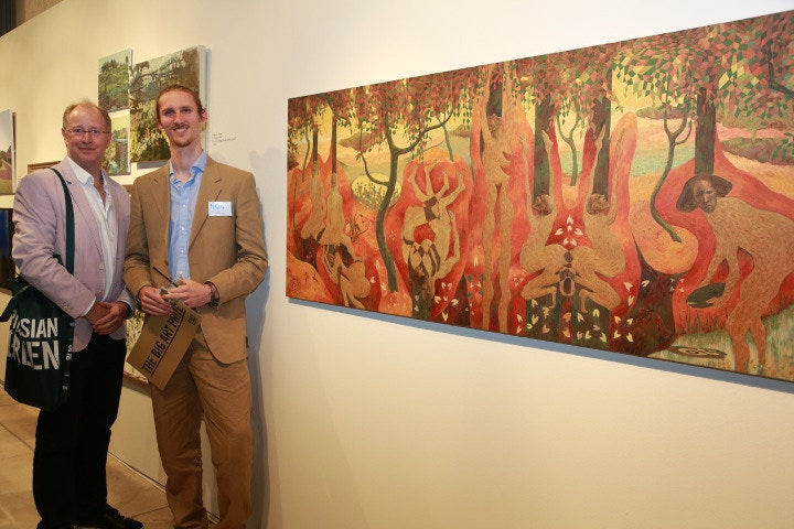 Mark Cass with winner Thomas Allen for his mixed media painting