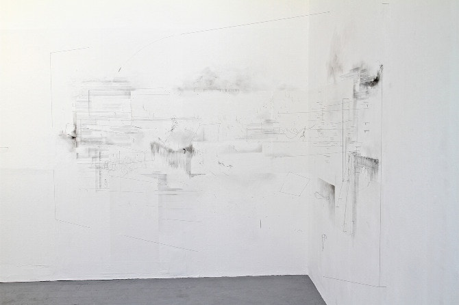 The Murmering Corner, Chloe Leaper, drawing and installation