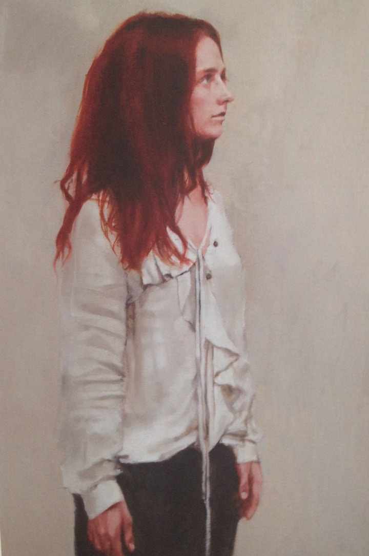 Red head model in Tim Wright's painting