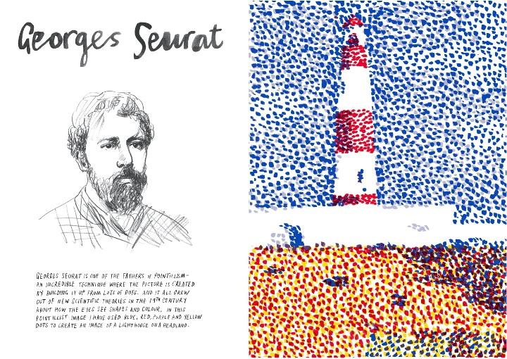 Georges Seurat, Exclusive pages inside the Marion Deuchars Draw Paint Print Book