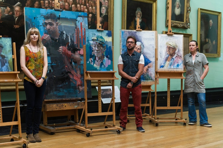 Christian Hook and other artists at Sky Arts Portrait Artist of the Year final