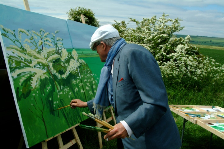 David Hockney painting outside
