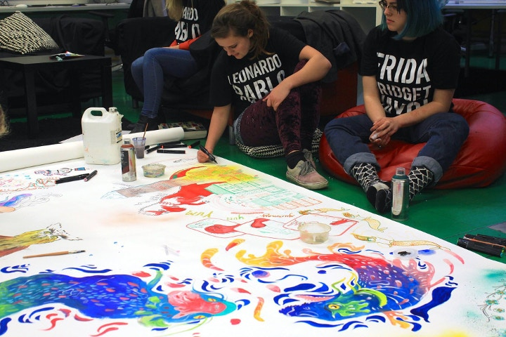 Mural being made by art students