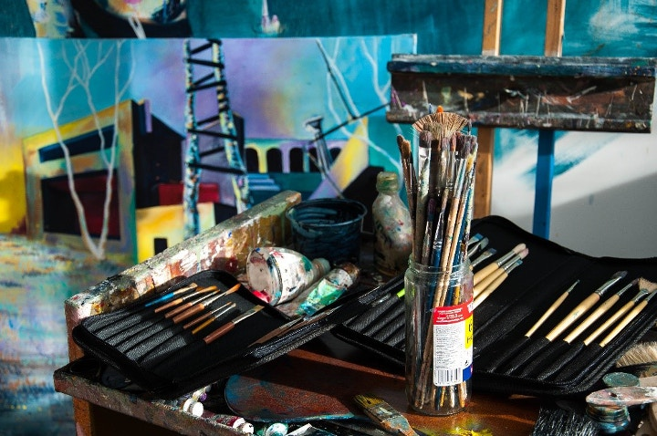 Artist Studio and Paintbrushes