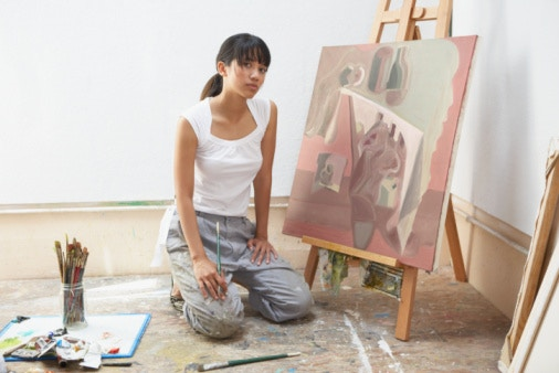 Artist with Mabef easel