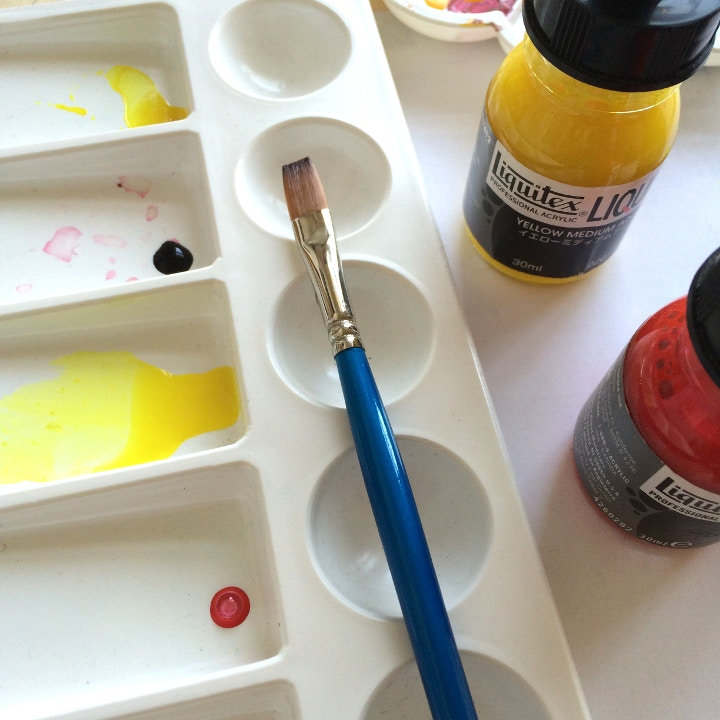 Acrylic inks in a palette