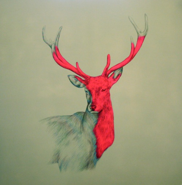 Symbolic Christmas neon stag