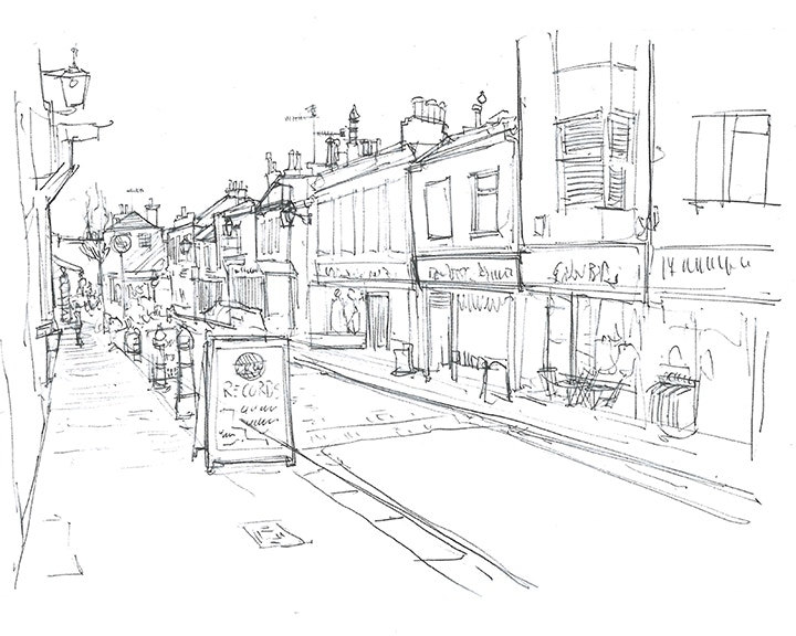 Urban sketch with added details