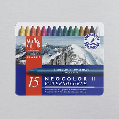 Caran D'ache Neocolor II Aquarelle Wax Pastels Tin Set of 15 | Cass Art