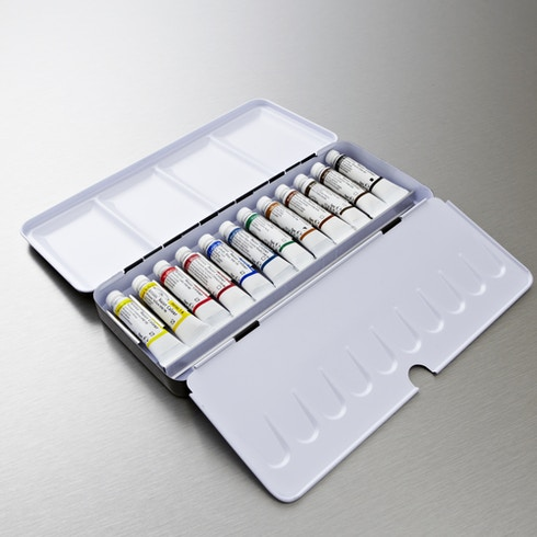 Winsor & Newton Artists' Watercolour Tube Lightweight Metal Box Set of 12 5ml | Professional Watercolours | Cass Art