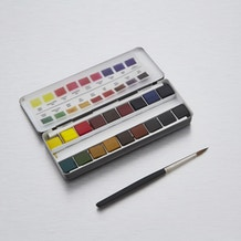 Cass Art Professional Watercolour Quarter Pan & Brush in Travel Pouch