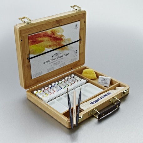 Winsor & Newton Artists' Watercolour Bamboo Wooden Box | Professional Watercolours | Cass Art
