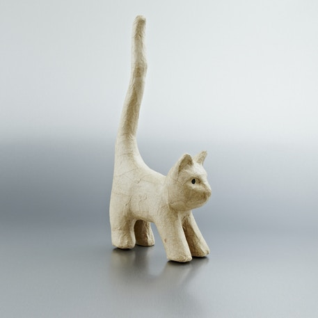 Decopatch Small Papier Mache Animal Cat With Long Tail | Cass Art