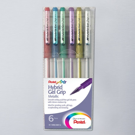 Pentel Hybrid Gel Grip Wallet Metallic Set of 6 | Cass Art