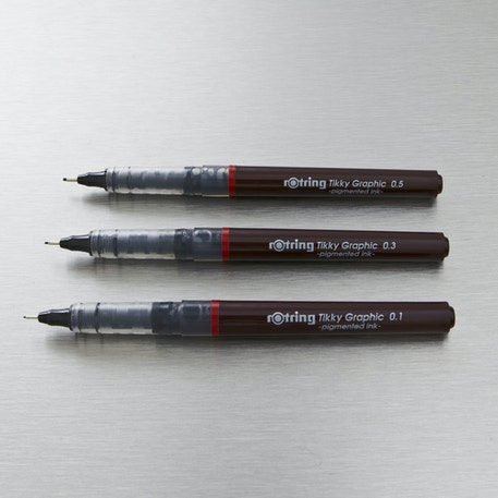 Rotring Tikky Graphic 0.1 to 0.5mm Set of 3 Black | Cass Art